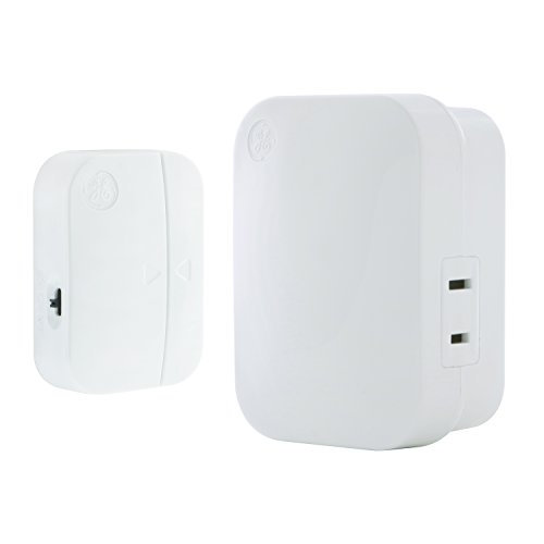 GE mySelectSmart Wireless Control Door Entry Contact Sensor, On/Off or Timed, 1 Outlet, 150 ft. Range from Plug-in Receiver, Ideal for Lamps & Indoor Lighting, No Wiring Needed, 36236