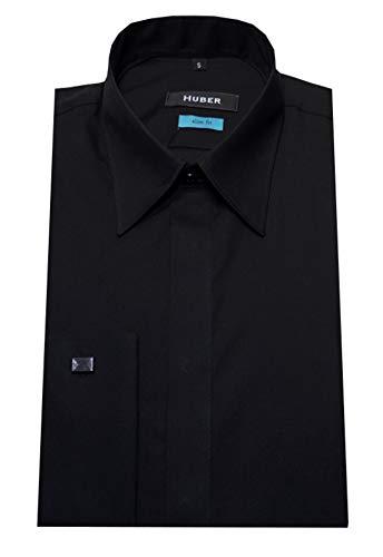 HUBER Manschetten-Hemd Slim Fit Verd. Knopfleiste schwarz XL
