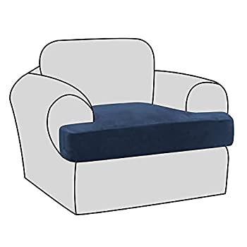 H.VERSAILTEX Stretch Velvet T Cushion Chair Covers for Living Room Armchair Sofa Cover Couch Cover Slipcover T Cushion Seat Cover Stay with Elastic Bands Navy