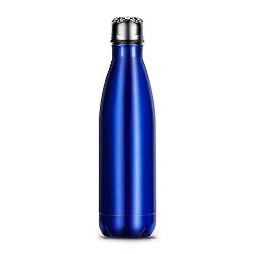 N\C Botella de agua de acero inoxidable con aislamiento de doble pared, 500 ml, sin BPA, para botellas de agua deportivas, color azul