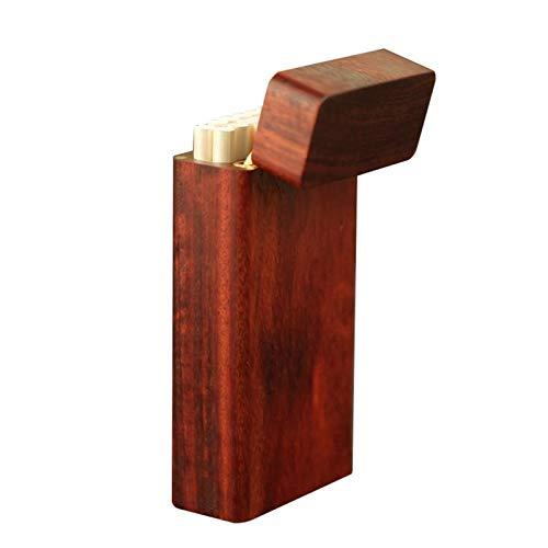 XIAOXIA Caoba Clamshell hecho a mano ultra delgada personalidad creativa creativa portátil palisandro cigarrillo caso madera masculina 20 piezas madera maciza