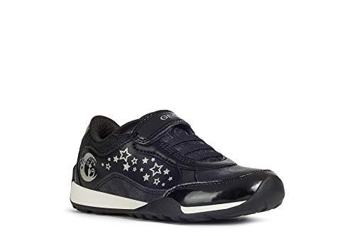 Geox Mädchen Sneaker Jocker Plus Girl, Kinder Low-Top Sneaker,lose Einlage, detailreich Halbschuh sportschuh,Black/DK Silver,31 EU / 12.5 UK Child