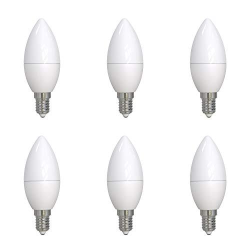 Umi by Amazon, lampadina LED C37 a candela, standard Edison E14, 5,5 W (equivalente 40 W), durata 15.000 ore, luce bianca calda (2.700 K), dimmerabile, confezione da 6