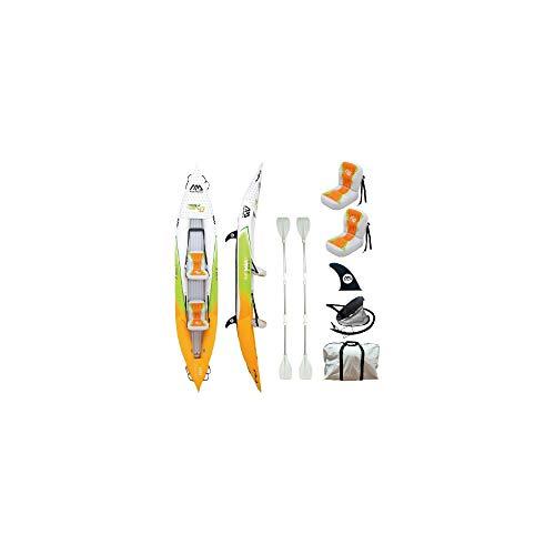 Set de Kayac inflable por 2 BETTA HM-K0 13'6'' 2 personas canoa para dos bote con remos, bomba, bolsa 412 x 80 cm naranja / verde