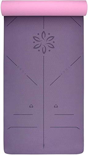 COLFULINE Esterilla de yoga - TPE ecológica antideslizante para hacer ejercicio, gimnasio, pilates, fitness y entrenamiento con correa de transporte 183 cm x 61 cm x 6 mm