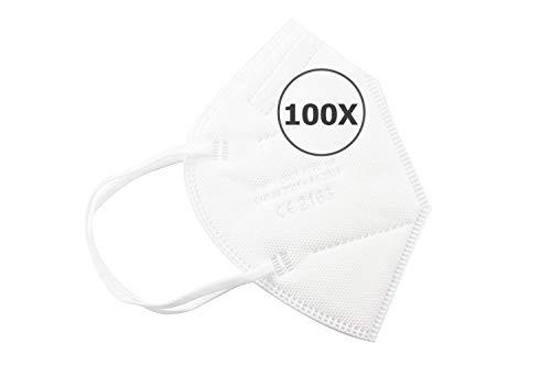 TBOC Mascarillas FFP2 -  [Pack 100 Unidades] Máscaras Desechables [Color Blanco] 5 Capas [No Reutilizables] Transpirables Plegables con Pinza Nasal [Certificadas y Homologadas CE 2163]