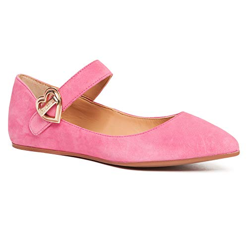 Love Moschino Pink Pointed Toe Mary Jane Flats for Womens (Numeric_5)