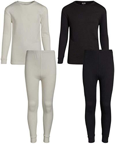 Arctic Hero Boys 2-Pack Thermal Underwear Top and Pant Set - Black/Ecru - 8/10