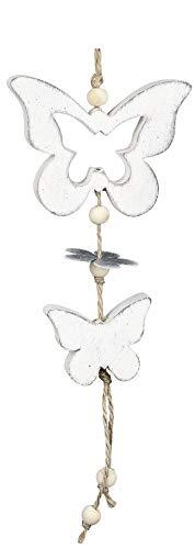 dekojohnson rustieke vlinder decoratieve hanger van hout en metaal raamdecoratie raamhanger Moederdag wit 24 cm landelijke stijl