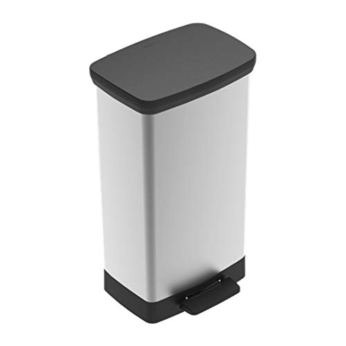 Curver Lid in Stainless Steel Like Finish - Perfect for Household Use Indoor for Garbage Disposal, Recycling Deco 50 Liter / 13 Gallon Tall Plastic Kitchen Trash, 50L/ 13 Gallons, Black/Silver