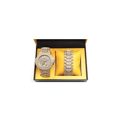 ICE BOX Bracciale a Maglia Cubana e Set di Orologi AP. Orologio in Oro con Diamanti CZ. Braccialetto cubico di Rollie del Braccialetto del Rapper di H