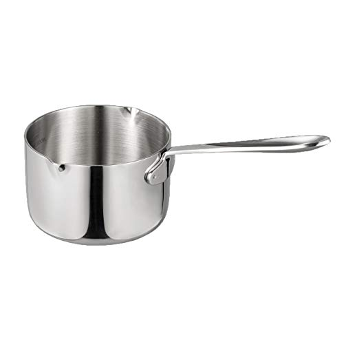 IMEEA Butter Coffee Milk Warmer Mini Butter Melting Pot with Dual Pour Spout 18/10 Tri-Ply Stainless Steel (15oz/450ml)