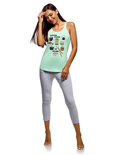 oodji Ultra Mujer Pijama de Algodón con Estampado, Verde, ES 36 / XS