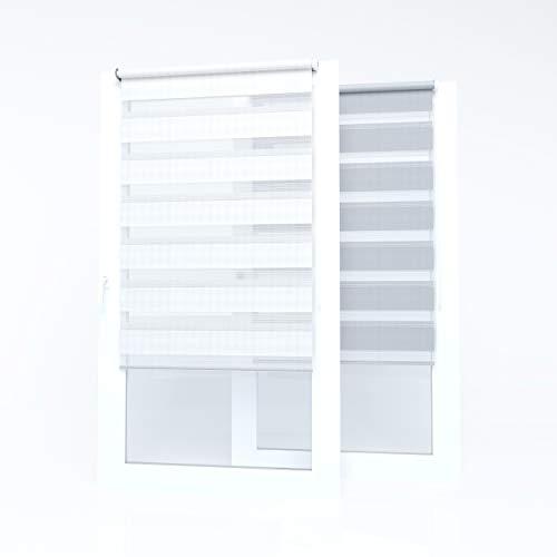 Market-Alley Doppelrollo Klemmfix Rollos ohne Bohren Klemmrollo Duo Rollo Fensterrollo lichtdurchlässig & verdunkelnd für Fenster und Tür (Weiß ; 105cm x 150cm ; BxH)