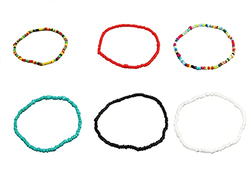 Boho Handmade Beads African Anklets Colorful Women Stretch Ankle Bracelets Beaded Bracelet Elastic Foot and Hand Chain Jewelry (6PCS)