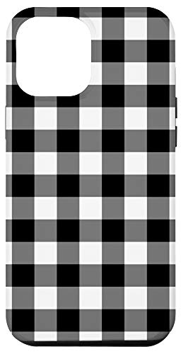 iPhone 12 Pro Max Black with White Gingham Buffalo Check Plaid Checkered Case