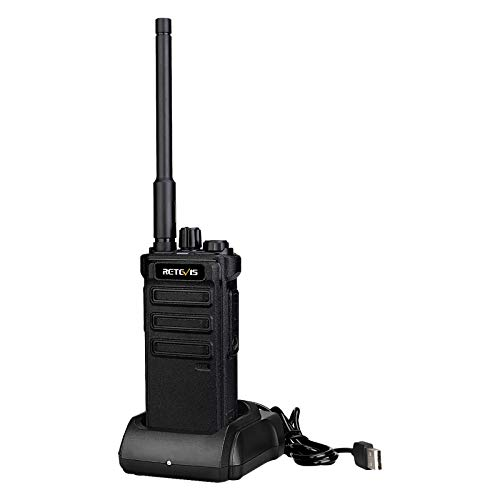 Retevis RB25 Walkie Talkie Digital, 32 Canales NBDR, Radio de 2 Vías, 2500 mAh Largo Alcance Walky Talky con Linterna de Emergencia para Exteriores, Radioaficionado (Negro, 1 Pieza)