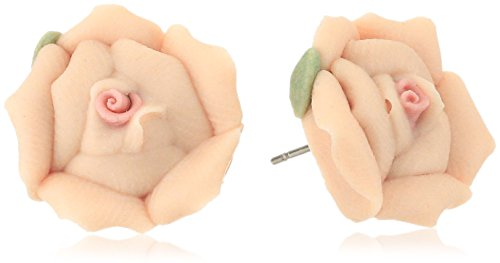 1928 Jewelry Womens Silver-Tone Large Peach Color Porcelain Rose Stud Earrings, 1