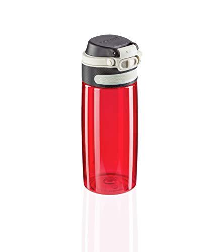 Leifheit Flip Tritan Borraccia tritan 550 ml, Borraccia acqua ermetica e resistente al calore, Borraccia palestra, scuola e ufficio portatile, rosso