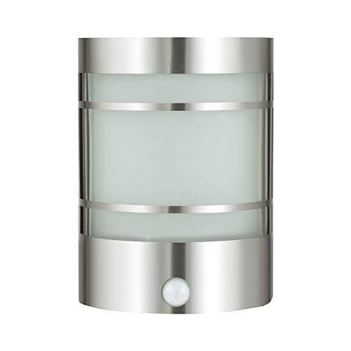 Edle IR Wand-Außenleuchte Außenlampe mit Bewegungsmelder aus Edelstahl & Echtglas Gartenleuchte 1010-pir