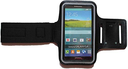 Dealbude24 Sport-Armband Wasserfest Schutz-Tasche für Sony Xperia Z3 Compact Fitness Handy-hülle Arm-Tasche mit Kopfhöreranschluss, Laufen, Blank M Schwarz