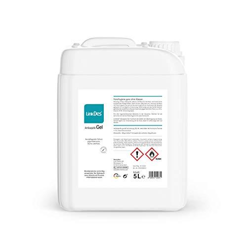 LinkDes® Antiseptik Gel, Desinfektionsgel, klebt nicht an den Händen, begrenzt viruzid EN 14476 (5 Liter)