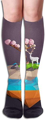 JAONGSADY Tube High Sock Boots Crew Floating Island Compression Socks Long Sport Stockings