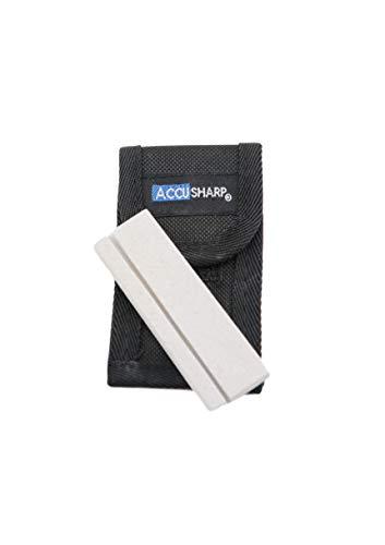 AccuSharp Natural Arkansas 3-inch Pocket Stone Knife Sharpener w/ Pouch - Mini Portable Knife...