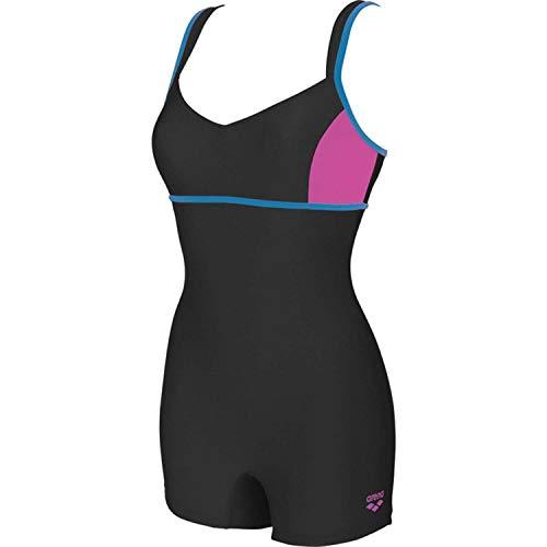ARENA Damen Badeanzug mit Bein Venus, Black-Shark-Turquoise, 38