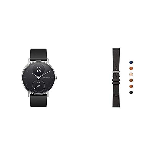 Withings Steel HR Hybrid Smartwatch - Fitnessuhr mit Herzfrequenz und Aktivitätsmessung, 36mm - Schwarz001, Schwarz Silikonarmband & Erwachsene Lederarmband, Schwarz & Silber