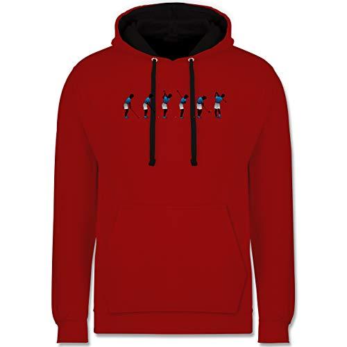 Shirtracer Golf - Golf Abschlag - XS - Rot/Schwarz - Golfschläger - JH003 - Hoodie zweifarbig und Kapuzenpullover für Herren und Damen