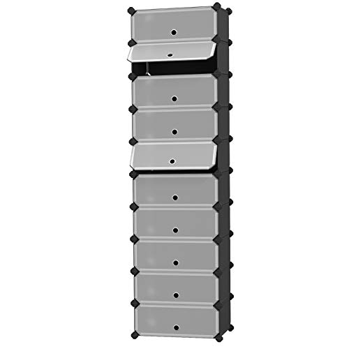 SONGMICS 10-Tier Shoe Rack, Plastic Cube Storage Organizer Units, DIY Modular Closet Cabinet with Doors, Includes Rubber Mallet and Anti-Tipping Device, Black ULPC10H