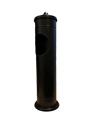 Excellent Houseware Cenicero de pie de acero inoxidable cepillado con cubo de basura, 56,6 x 14,7 cm, color negro