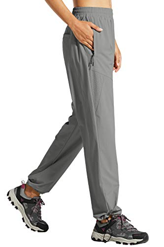 Libin Women's Quick Dry Hiking Pants Lightweight Outdoor Drawstring Joggers Athletic Pants, Water Resistant, Stretch, UPF 50, Grey L