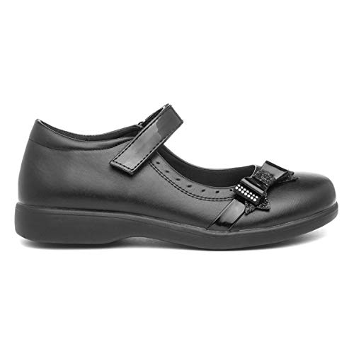 Walkright Girls Easy Fasten Black School Shoe - Size 11 Child UK - Black