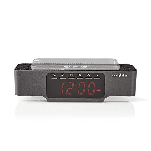 Nedis - Digitale Wekkerradio - Draadloos Telefoon Opladen - FM - Bluetooth - Radio - Ingebouwde batterij 1 x 18650 - Alarmklok