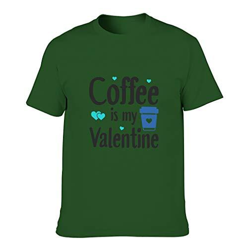 Camiseta de algodón para hombre, diseño con texto en alemán 'Kaffee ist Mein San Valentín' Dark Green001. XXXXXL
