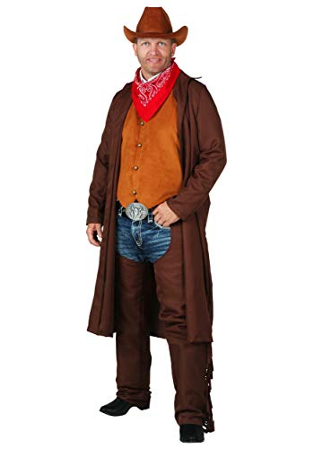 Adult Wild West Cowboy Costume Plus Size Western Rancher Costume 2X Brown