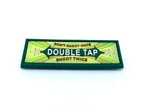 Patch Nation Double Tap Gummi Grun PVC Airsoft Paintball Klettverschluss-Flecken Klett