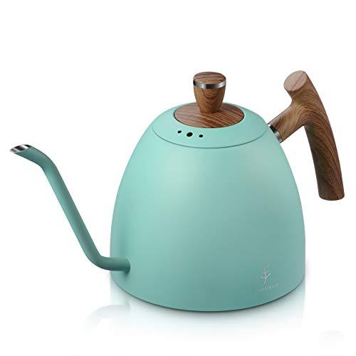 1,5L Handbrüh Kaffeekessel - Schwanenhals Wasserkocher Tropfbrüh Kaffeekanne Pour Over Kaffeebereiter Teekessel mit 3-lagiger Edelstahl Boden Wasserkessel für Induktion Elektrisches