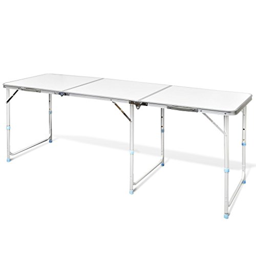 Anself Table Pliante de Camping en Aluminium avec Hauteur Ajustable