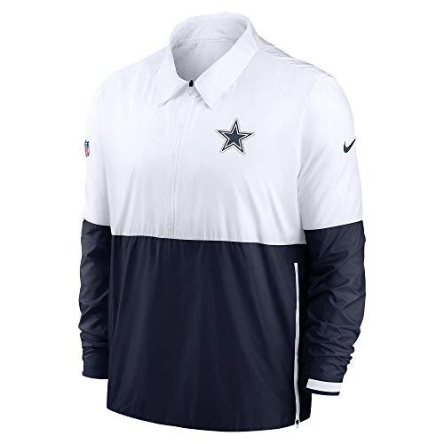 NFL Dallas Cowboys Mens Nike Lightweight Long Sleeve Coach Jacket, White/Navy, Medium