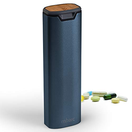 7 Tage wöchentlicher Medikamentendosierer von mbarc - Premium Stylish Medikamenten Box aus Aluminium und Holz mit großer Kapazität für Nahrungsergänzungsmittel, Pillen, Vitamine und Medikamente