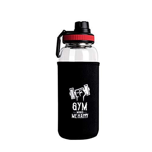 Vaso de Agua de Gran Capacidad con Botella para Deportes al Aire Libre de Vidrio con asa, Adecuado para Deportes de Salida, Jugar a la Pelota, Andar en Bicicleta, Correr (1000 ml)