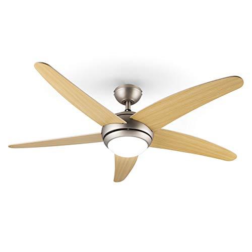 Klarstein Bolero - 2-in-1-Deckenventilator 134cm durchmessender Ventilator, Leuchte 55W Leistung,Holzflügel, Fernbedienung, 50 dB, 3 Drehgeschwindigkeiten: schnell, mittel, langsam, Ahorn