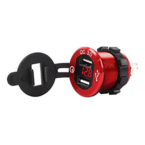 RJJX 12V / 24V Cargador rápido 3.0 QC3.0 Impermeable Dual USB Cargador de Coche Voltmeter 60 cm Cable 10A Fusible para Barco de automóvil Camión de Motocicleta Golf (Color Name : Red)