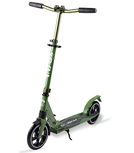 Vokul Foldable Kick Scooters for Kids 10 Years and up,Folding Mechanism+Adjustable Handlebar+Shock Absorption System ,205 mm Big Wheels, Smooth Glide Commuter Scooter with 220 lbs Capacity