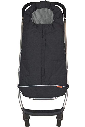 liuliuby CozyMuff (Original) - Warm Stroller Footmuff with Temperature Control - Universal Baby Bunting Bag for Cold Weather - Outdoor Sleeping Bag (Toddler Size, Black)