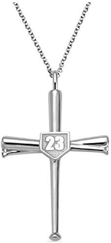 Collar Cruzado Bates de béisbol Atletas Colgante Cruzado Número Deportivo o Collares Iniciales Regalos para Hombres Mujeres Adolescentes Niños Niñas