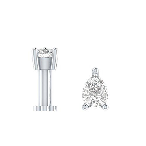 Ani's 1/5 quilates forma de pera D/VVS1 diamante transparente 925 plata solitario hueso tornillo piercing pin para mujer